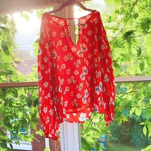 Candy Red Cherry Blossom Cutout Floral Top 🔮